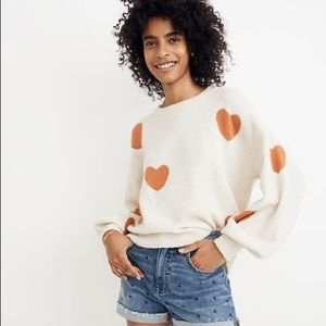 MADEWELL Wool Balloon Sleeve Heart Knit Sweater
